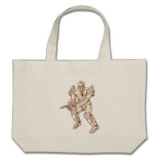 Mecha Robot Warrior With Ray Gun Canvas Bag