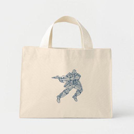 Mecha Robot Warrior With Ray Gun Tote Bag