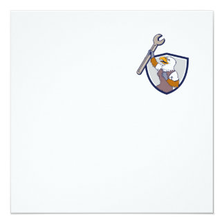 Mechanic Bald Eagle Spanner Crest Cartoon Card