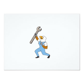 Mechanic Bald Eagle Spanner Standing Cartoon Card