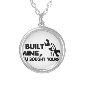 Mechanic, built mine silver plated necklace