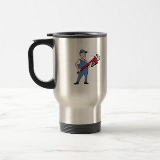 Mechanic Cradling Pipe Wrench Cartoon Travel Mug