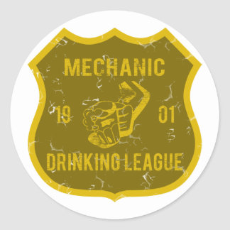 Mechanic Drinking League Round Sticker