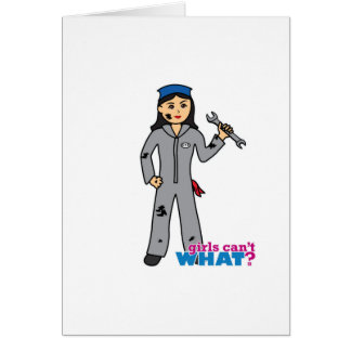 Mechanic Girl - Medium Greeting Card