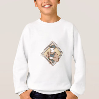 Mechanic Holding Wrench Crest Mono Line Sweatshirt