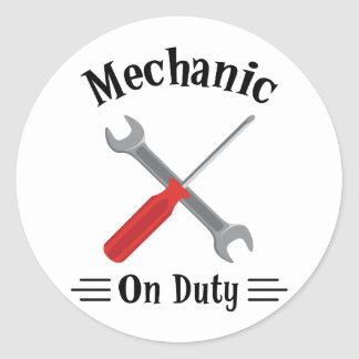 Mechanic On Duty Classic Round Sticker