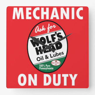 Mechanic on Duty sign. Wolf Head Oil version Square Wall Clock