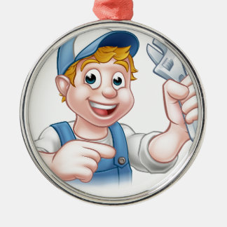 Mechanic or Plumber Handyman Silver-Colored Round Ornament