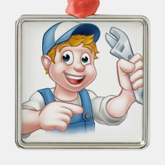 Mechanic or Plumber Handyman Silver-Colored Square Ornament