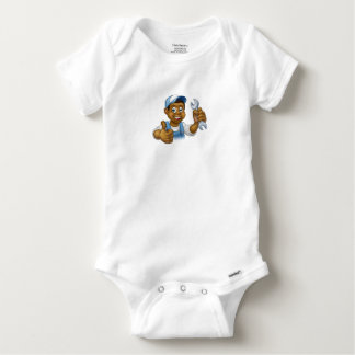 Mechanic or Plumber Handyman With Spanner Baby Onesie
