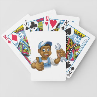 Mechanic or Plumber Handyman With Spanner Bicycle Playing Cards