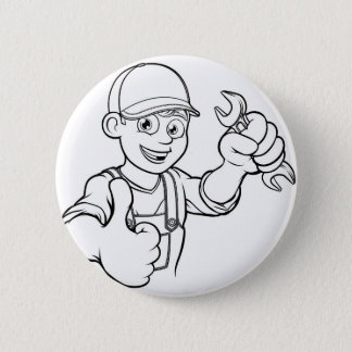 Mechanic or Plumber Handyman With Spanner Cartoon 2 Inch Round Button