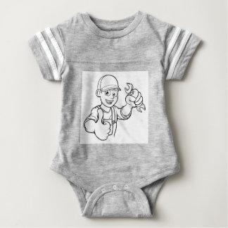 Mechanic or Plumber Handyman With Spanner Cartoon Baby Bodysuit