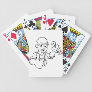 Mechanic or Plumber Handyman With Spanner Cartoon Bicycle Playing Cards