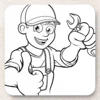 Mechanic or Plumber Handyman With Spanner Cartoon Coaster