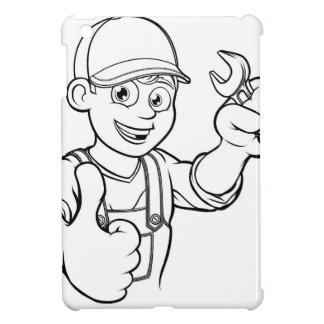 Mechanic or Plumber Handyman With Spanner Cartoon Cover For The iPad Mini