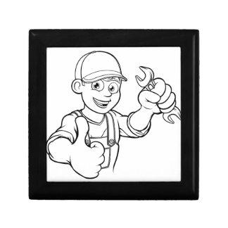 Mechanic or Plumber Handyman With Spanner Cartoon Gift Box