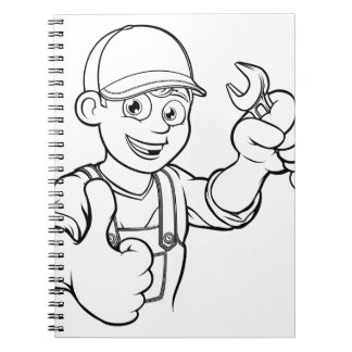 Mechanic or Plumber Handyman With Spanner Cartoon Notebooks