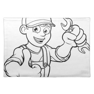 Mechanic or Plumber Handyman With Spanner Cartoon Placemat