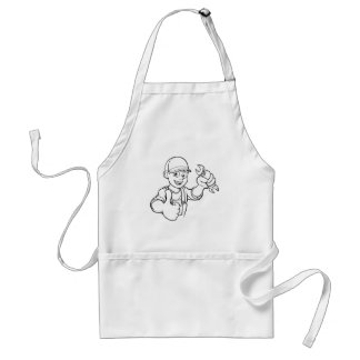 Mechanic or Plumber Handyman With Spanner Cartoon Standard Apron