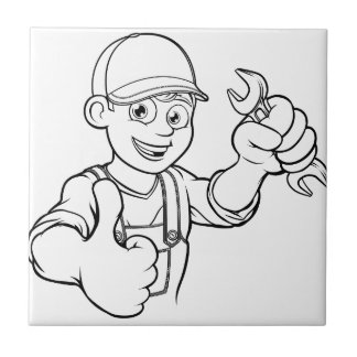 Mechanic or Plumber Handyman With Spanner Cartoon Tile