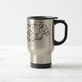 Mechanic or Plumber Handyman With Spanner Cartoon Travel Mug