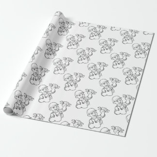 Mechanic or Plumber Handyman With Spanner Cartoon Wrapping Paper