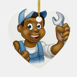 Mechanic or Plumber Handyman With Spanner Ceramic Heart Ornament