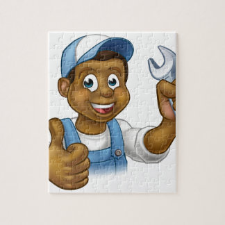 Mechanic or Plumber Handyman With Spanner Puzzle