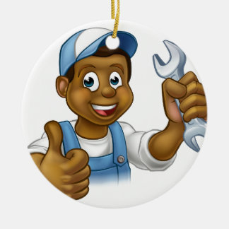Mechanic or Plumber Handyman With Spanner Round Ceramic Ornament