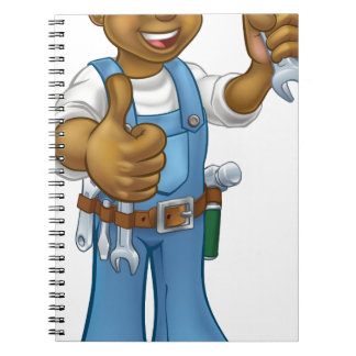 Mechanic or Plumber Handyman With Spanner Spiral Notebook