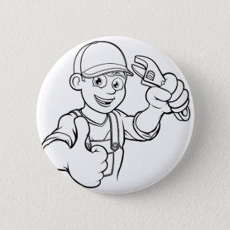Mechanic or Plumber Handyman With Wrench Cartoon 2 Inch Round Button