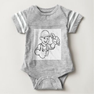 Mechanic or Plumber Handyman With Wrench Cartoon Baby Bodysuit