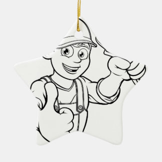 Mechanic or Plumber Handyman With Wrench Cartoon Ceramic Ornament