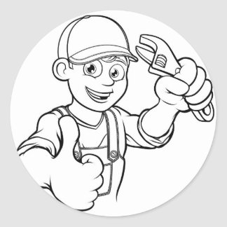 Mechanic or Plumber Handyman With Wrench Cartoon Classic Round Sticker