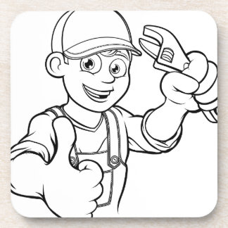 Mechanic or Plumber Handyman With Wrench Cartoon Coaster