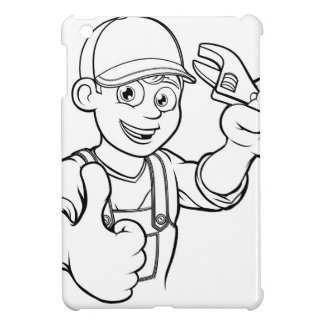 Mechanic or Plumber Handyman With Wrench Cartoon Cover For The iPad Mini