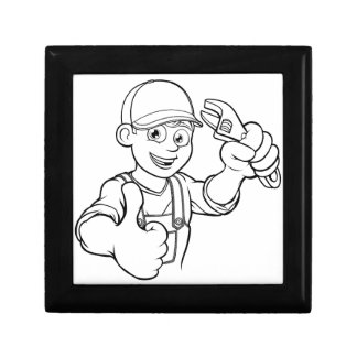 Mechanic or Plumber Handyman With Wrench Cartoon Gift Box