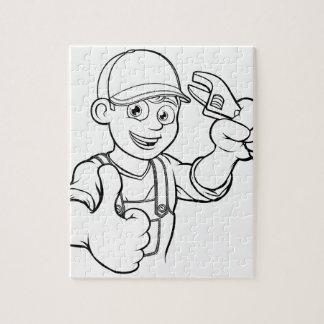 Mechanic or Plumber Handyman With Wrench Cartoon Jigsaw Puzzle