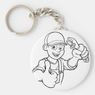 Mechanic or Plumber Handyman With Wrench Cartoon Keychain