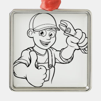 Mechanic or Plumber Handyman With Wrench Cartoon Metal Ornament
