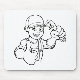 Mechanic or Plumber Handyman With Wrench Cartoon Mouse Pad