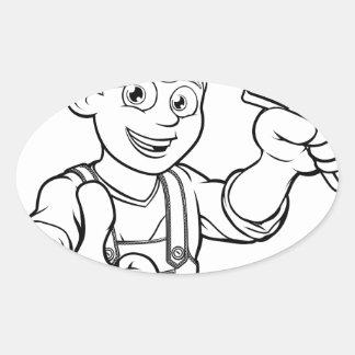 Mechanic or Plumber Handyman With Wrench Cartoon Oval Sticker