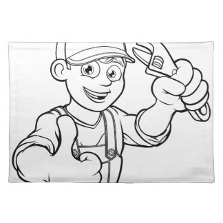 Mechanic or Plumber Handyman With Wrench Cartoon Placemat