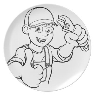 Mechanic or Plumber Handyman With Wrench Cartoon Plate