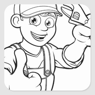 Mechanic or Plumber Handyman With Wrench Cartoon Square Sticker