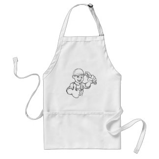 Mechanic or Plumber Handyman With Wrench Cartoon Standard Apron