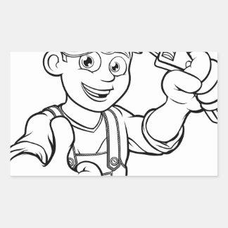 Mechanic or Plumber Handyman With Wrench Cartoon Sticker