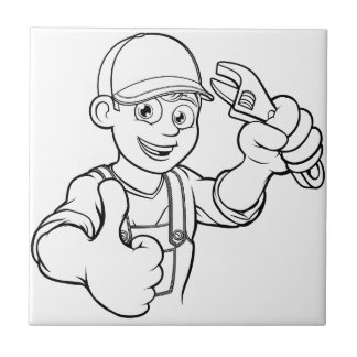 Mechanic or Plumber Handyman With Wrench Cartoon Tile
