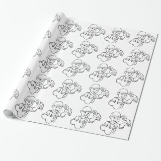 Mechanic or Plumber Handyman With Wrench Cartoon Wrapping Paper